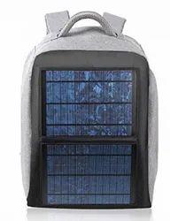 Black & Grey Solar Charging Backpack, 5 V, 12 Watt