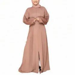 Copper Brown Accordion Pleats Abaya