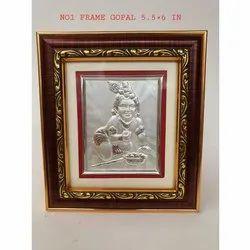 Silver,Wood Rectangular Silver Laddu Gopal Statue Frame, 5.5x6 inch
