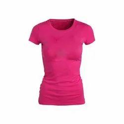 Pink Cotton Ladies Half Sleeves Plain T Shirt, Size: S-XXL
