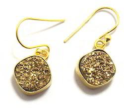 Sameer Art & Craft Brass Golden Druzy Earring