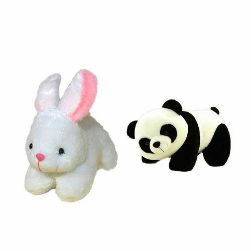avs white and black combo of rabbit and panda teddy bear rs 199