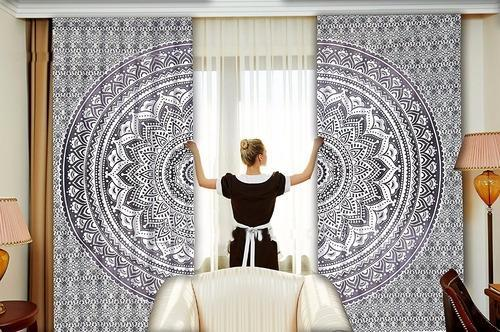 Indian Mandala Black Ombre Window Curtain Home Decorative