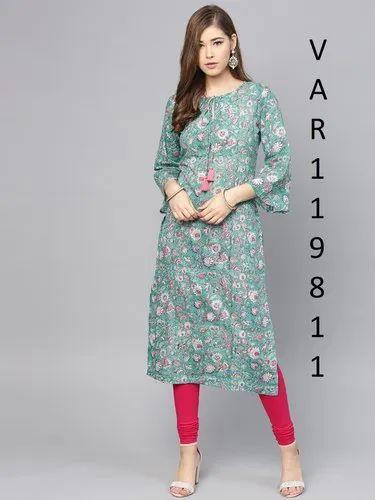 Casual Wear Digital Printed Multi Colour Cotton Printed Kurtis, Size: L