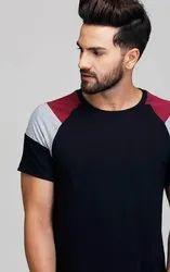 Cotton Black Designer Sleeve T Shirt For Men