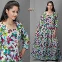 Cotton Casual Wear Ladies Printed Gown Dress