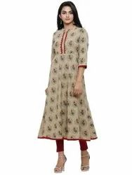 Yash Gallery Womens Cotton Blend Floral Print Anarkali Kurta