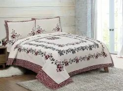 Floral Print Cotton Double Bed Sheet