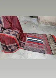 Party Wear Ajrakh Print Modal silk Saree, Length: 6 M (with Blouse Piece)