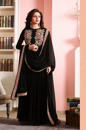 5726039355 Georgette Printed Black Color Latest Indian Designer Anarkali Salwar Kameez  Dr