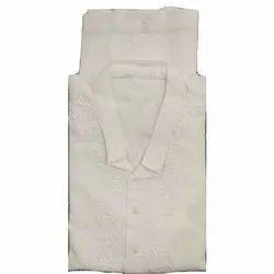 Cotton Casual Wear Mens White Chikan Kurta Pyjama