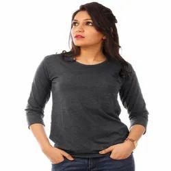 Womens Charcoal Melange Plain 3/4th Sleeve T Shirt