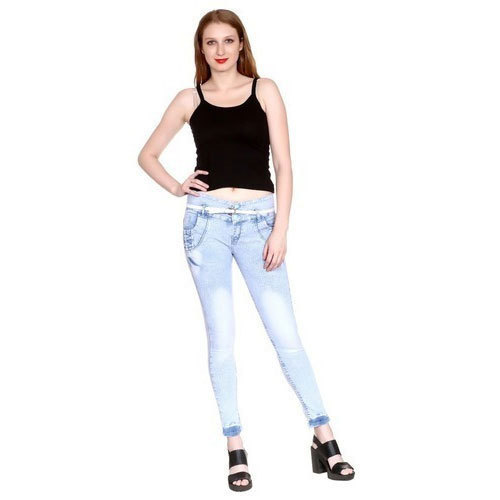 40e1f18824 Sky Blue Stretchable Denim Ladies Slim Fit Jeans, Waist Size: 28 - 34 Inch