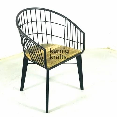 Excellent Kernig Krafts Metal Outdoor Wireframe Chair With Wooden Seat Lamtechconsult Wood Chair Design Ideas Lamtechconsultcom