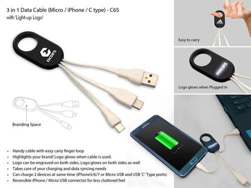 White NON Data Cable With Light Up