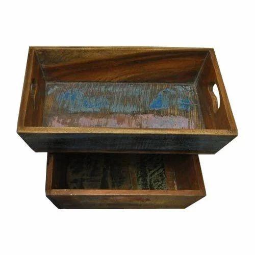 Exceptional Handmade Sagwan Wood Serving Tray Set