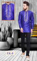 Silk Blue Embroidered Traditional Short Indian Kurta For Men
