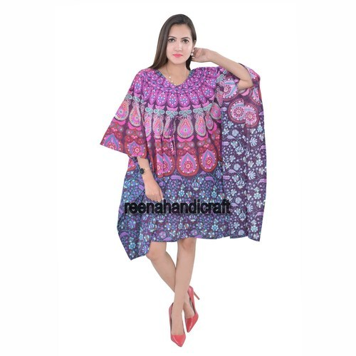 Indian Pink Badmedi Kaftan Mandala Women Dress  Kaftans