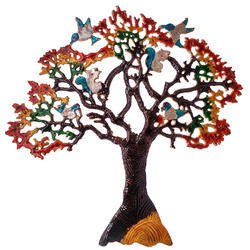 cd484b99b1 50 Cm Metal Tree Multi-color With Birds And Squirrels For Wall Decoration