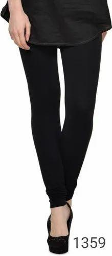Lux Cotton Lycra Plain Ladies Black Leggings