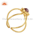 Pink Tourmaline Designer Gold Plated 925 Silver Womens Ring Jewelry