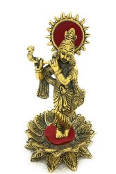 Bharat Handicrafts Gold Plated Krishna Standing on Kamal with Flute