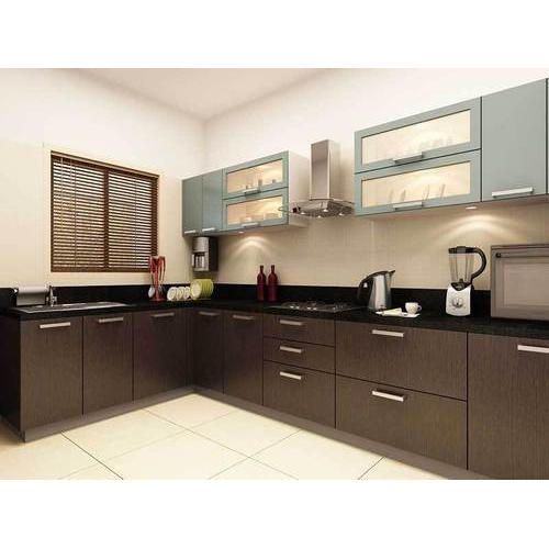Pvc L Shape Modern Modular Kitchen Rs 850 Square Feet: Plywood L Shape Modular Kitchen, Rs 555 /square Feet, B.k