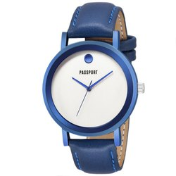 Blue Leather Mens Wrist Watch