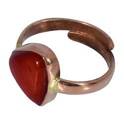 Natural Triangle Coral ( Moonga ) Gemstone Ring