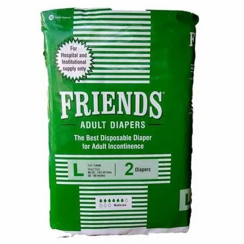Friends Adult Diapers, Size: Large, 2 Pieces