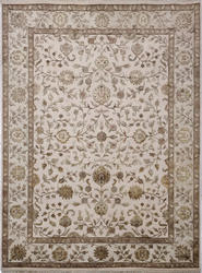 Light Gold Wool and Silk Rugs