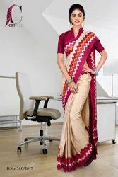 Maroon and Beige Tripura Cotton Uniform Saree