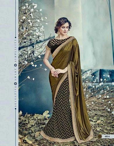 e87c2b21308185 Surbhi Fashion Raw Silk Amazin Black, Gold Fancy Net, Lycra Designer Party  Wear Saree