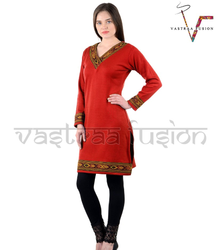 Ladies Casual Wear  Woolen Kurti - Orange Colour