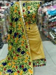 Yellow Cotton Ladies Multicolor Dress Material