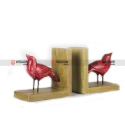 Woavin Vintage Distress Wooden Bird Bookends - Red