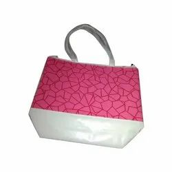 Pink And White Printed Rexine Jewellery Bag