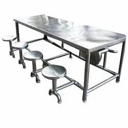 Ss Silver 8 Seater Steel Dining Table, For Restaurant