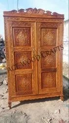 Brown Hinged Handcrafted Wardrobe Two Part Almirah, For Home