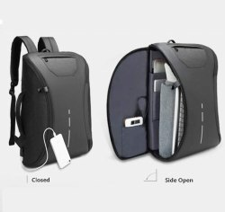 Husker Fully Open Self Manage Ergonomic Design Laptop Backpack (Grey Color To In One)