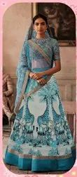 Satin Silk Digital Embroidered Lehenga