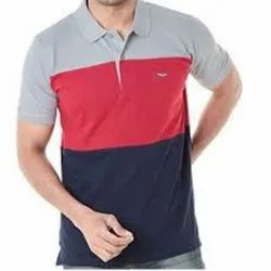 Cotton Half Sleeve Mens Collar Neck Casual T-Shirts, Size: S-XXL
