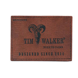 Brown Embossed PU Leather Label