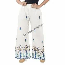 Regular Fit Women's Chikan Embroidery Palazzo Pants For Women