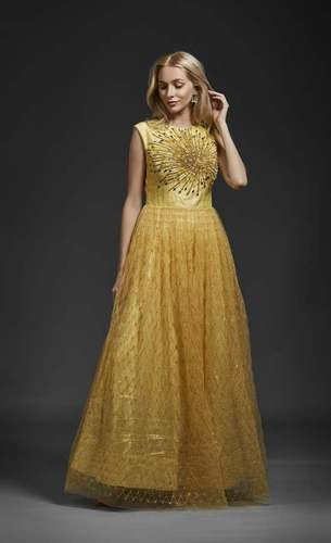 6ec14c2931 Khwaab Net Round Neck Yellow Embroidery Evening Ball Gown