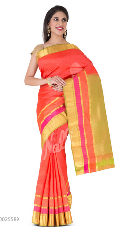 78e32083fe Coral Orange Kanchipuram Silk Saree, प्योर रेशमी ...