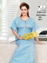 Full Length Dull cotton Ladies Nighties, Free Size