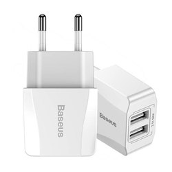 ABS Plastic Baseus Mini Dual-USB Travel Charger Adapter
