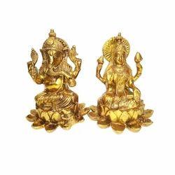 Brass Gold Plated Laxmi and Ganesh Status