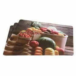 Multicolor Fruit Printed Fridge Mat
